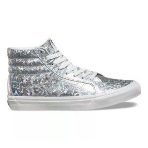 Vans Silver Holographic Star Sk8-HI Sneakers | 11